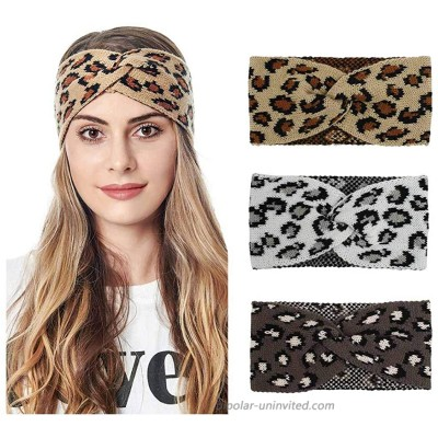 Gangel Leopard Winter Headband Warm Knit Hairband Fashion Twist Turban Crochet Head Wraps Leopard Hair Accessories for Christmas Stocking Gifts for Women and GirlsPack of 3 at  Women's Clothing store