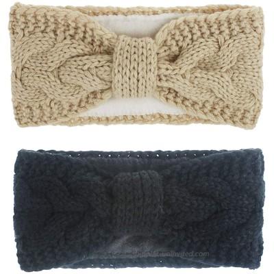 MonicaSun Women Winter Warm Headband Fuzzy Fleece Lined Thick Cable Knit Head Wrap Ear Warmer Black beige at  Women's Clothing store