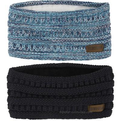 Muryobao Women Winter Ear Warmer Headband Cable Knit Fuzzy Fleece Lined Head Wrap Stretchy Thick Headband Black & Confetti Blue at  Women's Clothing store