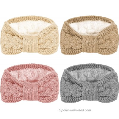 Whaline 4 Pack Twisted Knit Headbands Winter Knotted Head Wraps Fuzzy Lined Headband Thick Crochet Turban Ear Warmer Elastic Hair Band Accessories for Girls Women at  Women's Clothing store