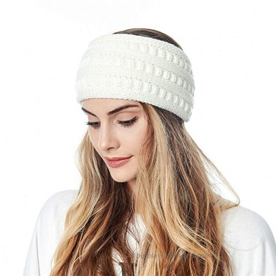 Winter Cable Knit Headband Ear Warmer Headbands Soft Fuzzy Lined Head Wrap Thick Stretch Knitted Hair Accessories for Women and Girls White