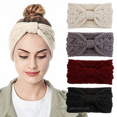 Womens Knitted Headband - Soft Crochet Bow Twist Hair Band Turban Headwrap Winter Ear Warmer 4ColorPackL
